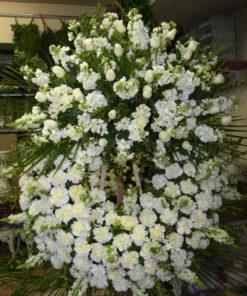 Corona Funeraria blanca y verde